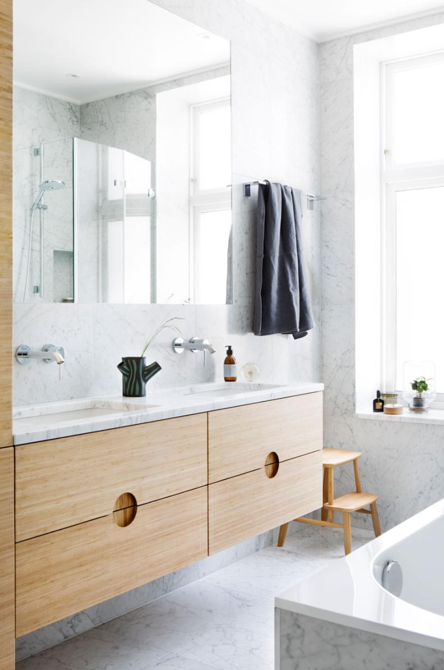 Bespoke Bathroom In Bamboo And Marble