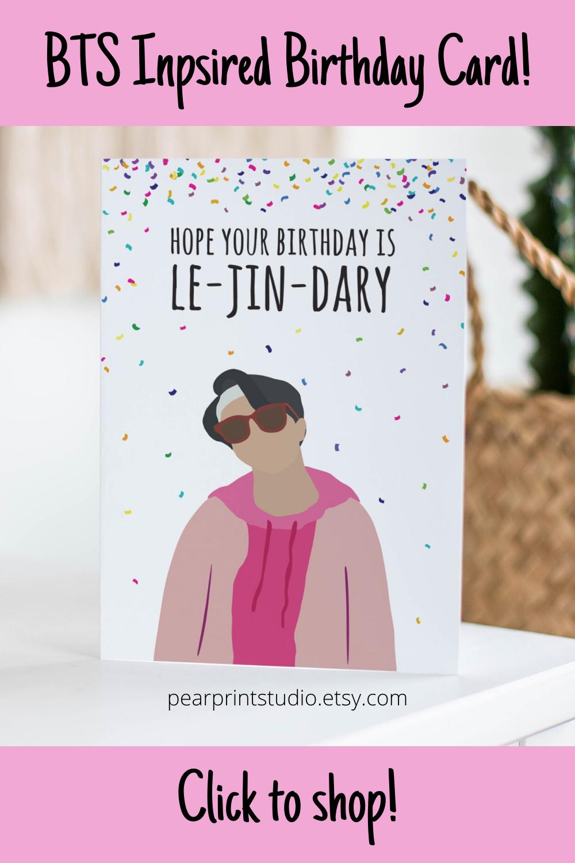 Bts Jin Inspired Birthday Card Birthday Cards For Friends Birthday Cards Bts Birthdays