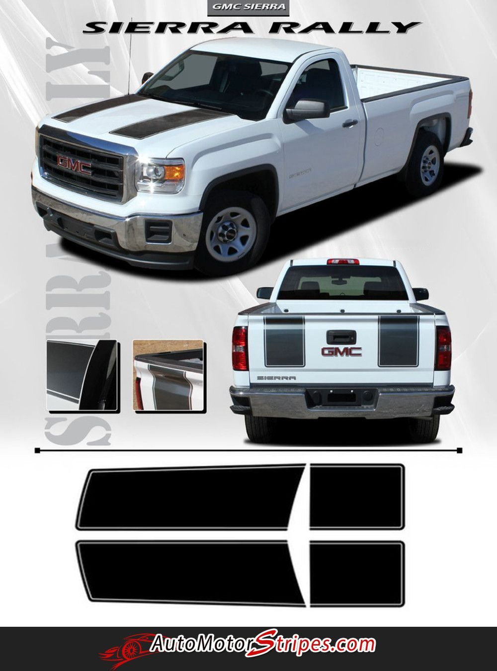 medium resolution of 2014 2016 gmc sierra rally oe factory style edition truck hood tailgate racing vinyl graphics stripes kit