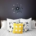 bedrooms - sunburst west elm yellow gray almost black DwellStudio for Target Pillow  Yellow and gray bedroom.