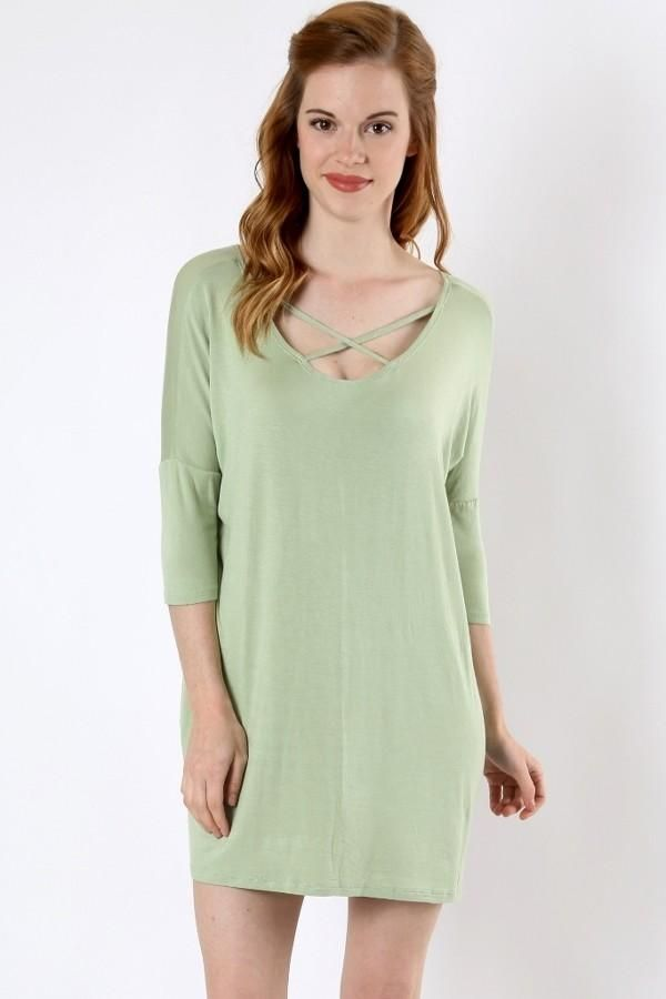 3cd2a05607b4a Oversized Long Plus Tunic Top for Women Mint Green Cute String Detail –  MomMe and More