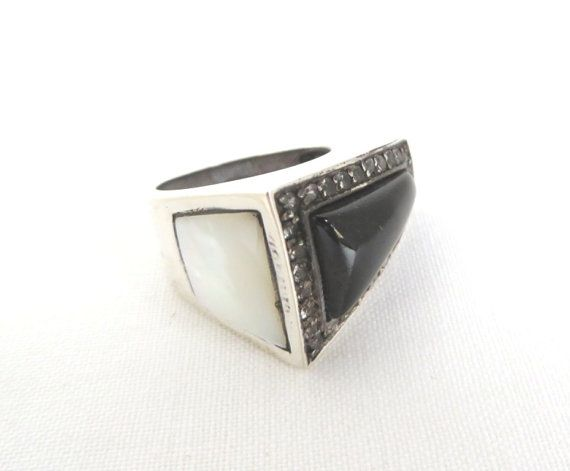 Jade & MOP Ring  Vintage Sterling Silver Angled Band by LeesStuff