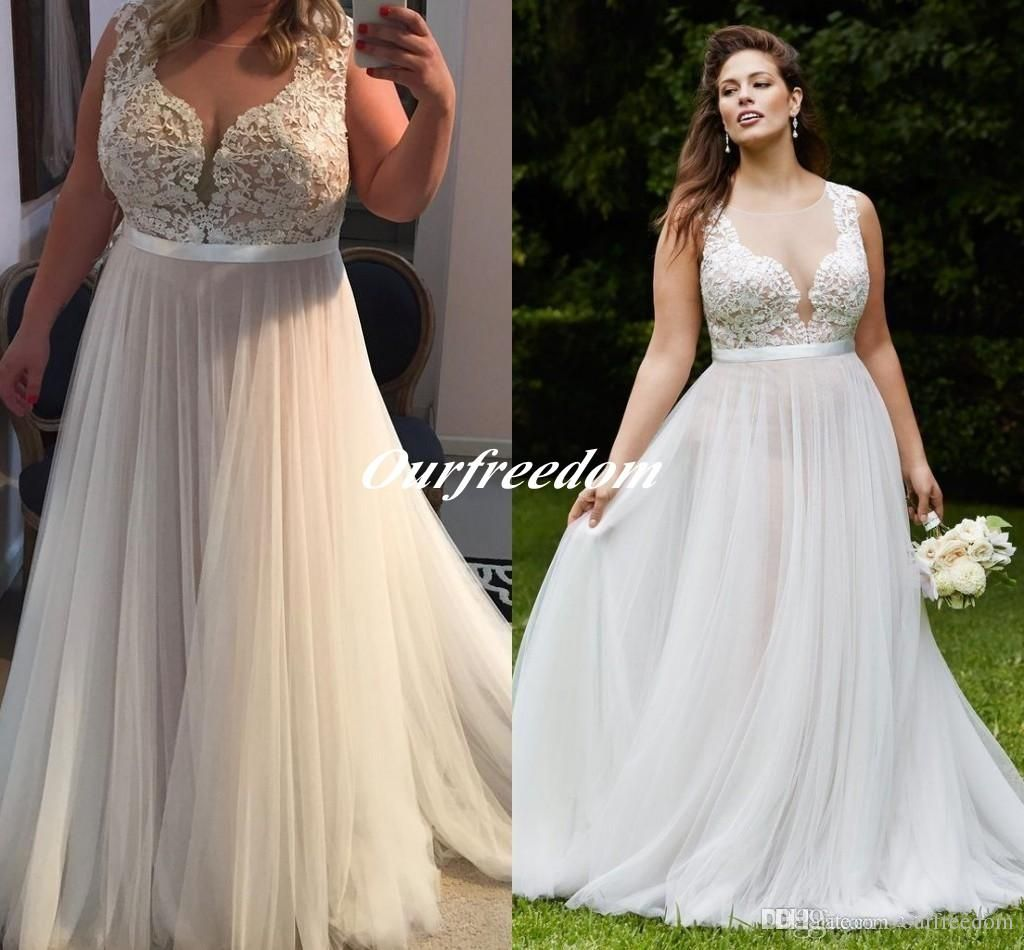 A line tulle wedding dress   Vintage Plus Size Illusion Top Wedding Dresses Sheer Neck A
