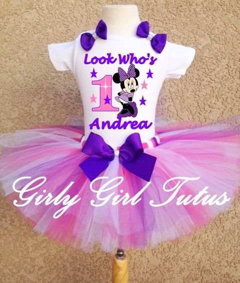 2a1a1744b53 Baby Girl Pink/Purple Minnie Mouse 1st Birthday outfit This is ...
