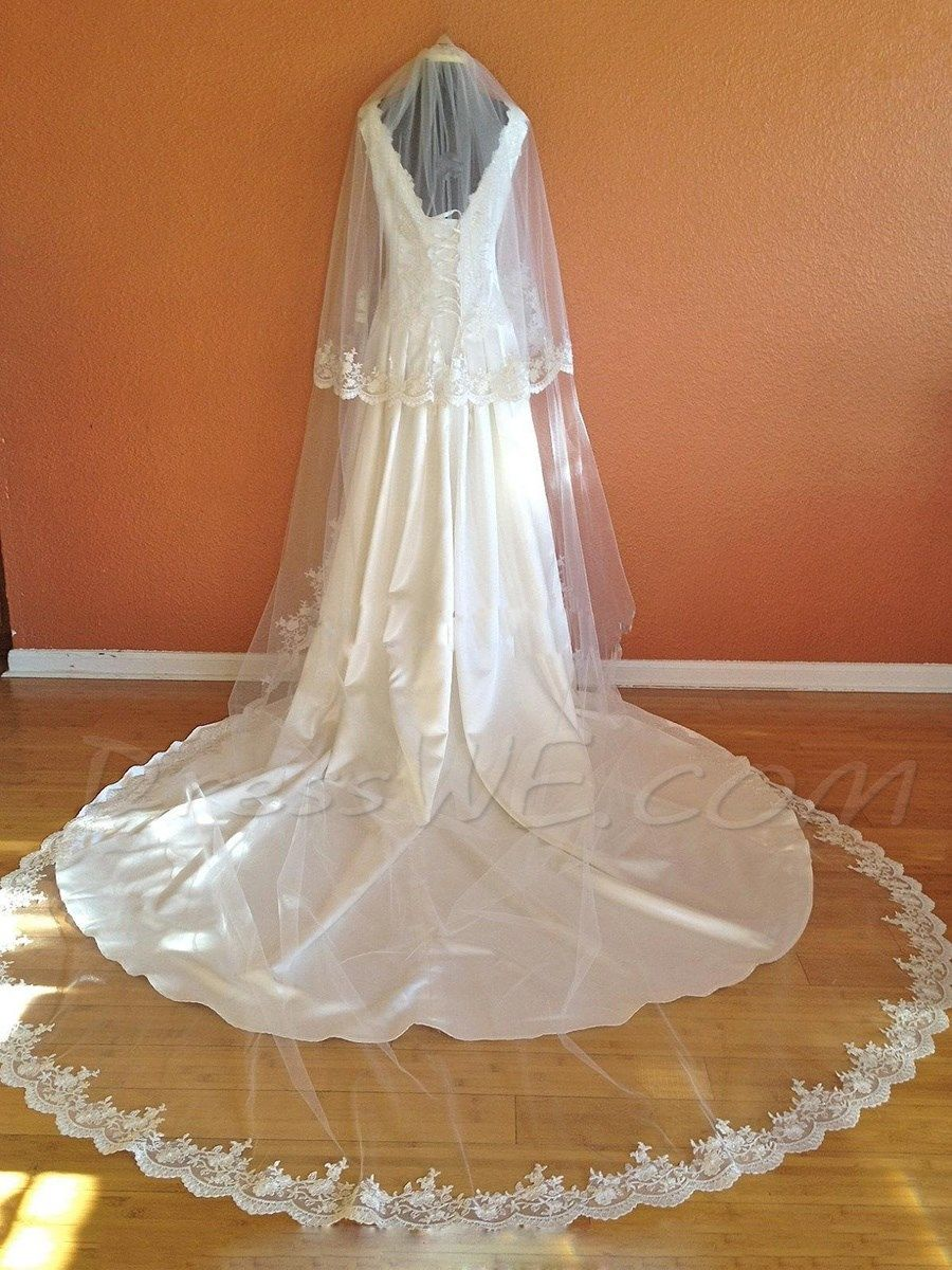 Buy Cathedral Wedding Veil Blusher Lace Edge Online