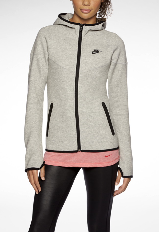 nike womens windrunner tech fleece full zip jacket hoodie pink