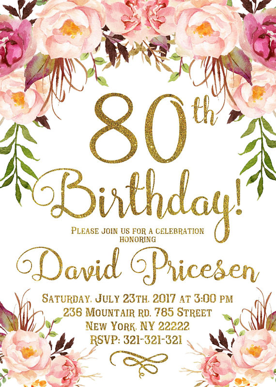 80th Birthday Invitation For Women Floral Party