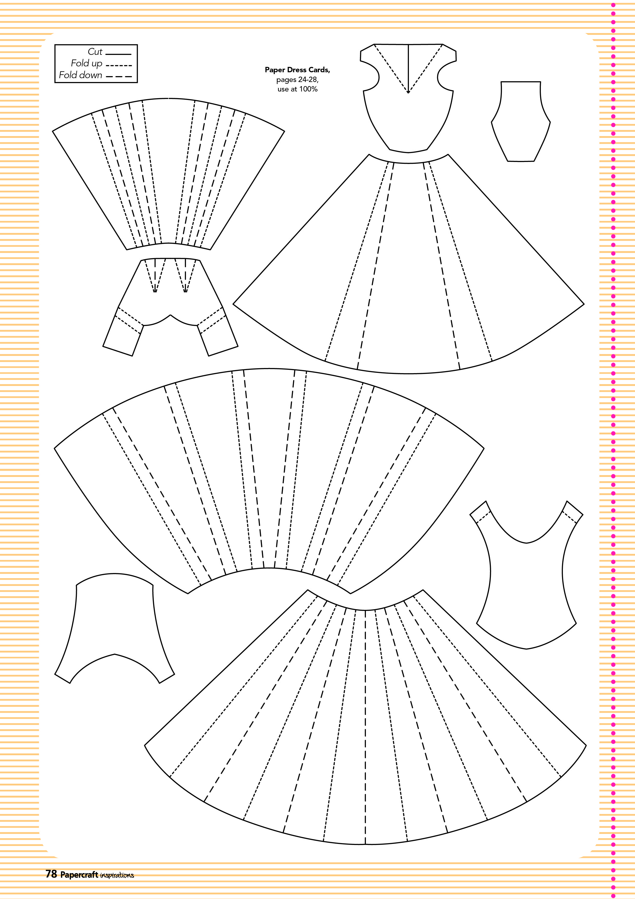Free Folded Paper Dress Cardmaking Template Paper Embroidery Paper Dress Cards Handmade
