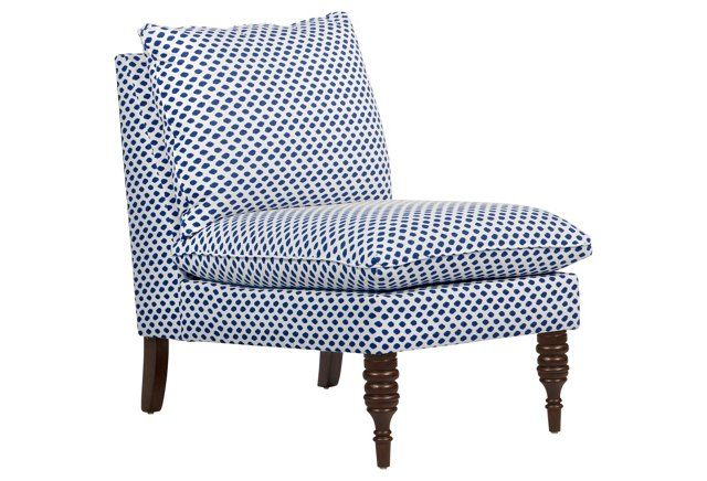 Bacall Slipper Chair, Blue Dot