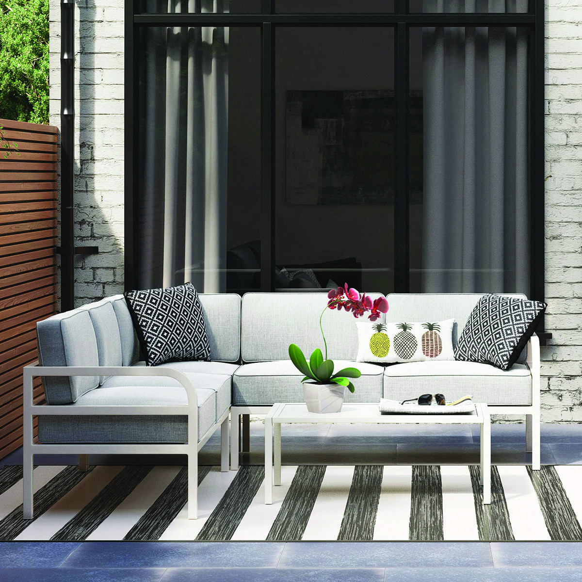 Beacon Hill Metal Patio Sectional Set, $520