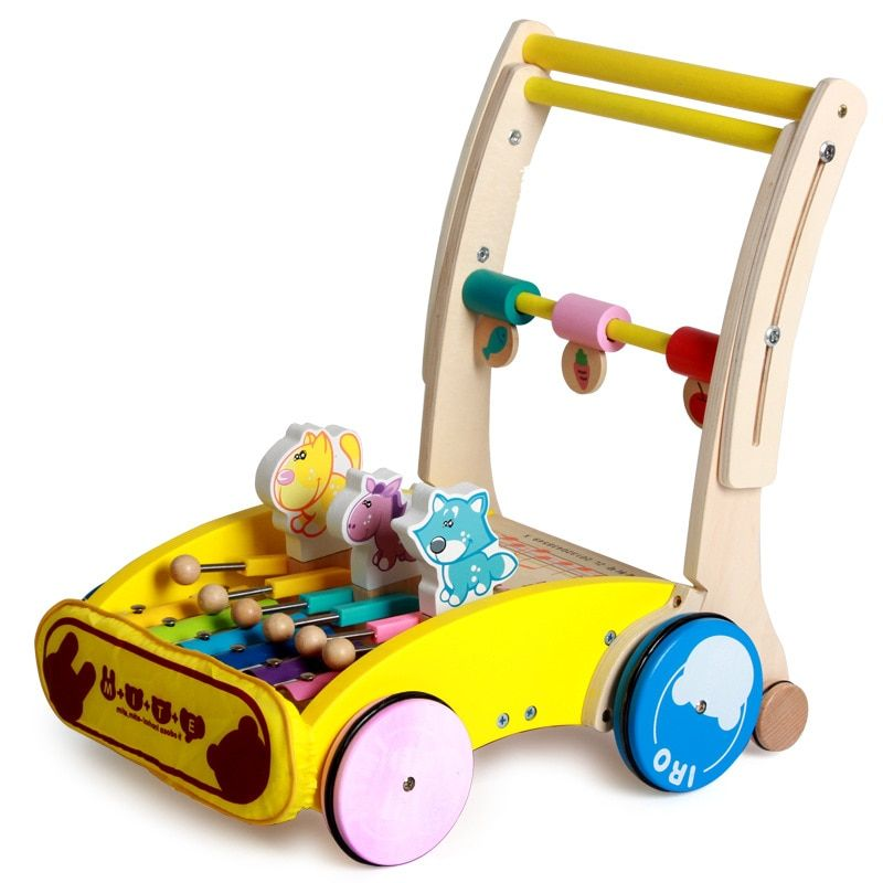Early Child Wooden Baby Stroller Folding Cart Toys with