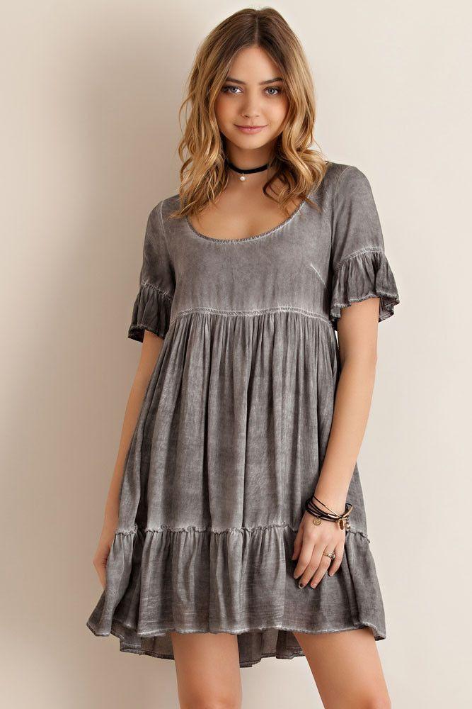 fa15a8c22030 STONEWASH BABYDOLL DRESS Babydoll Dress Outfit, Ruffle Dress, Dress Skirt,  Tunic Sewing Patterns