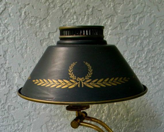Vintage Antique Federal Toleware Lamp Shade Metal Tin Black Gold Wreath Tole Light Table Lamp Metal Lamp Shade Metal Lamp Lamp