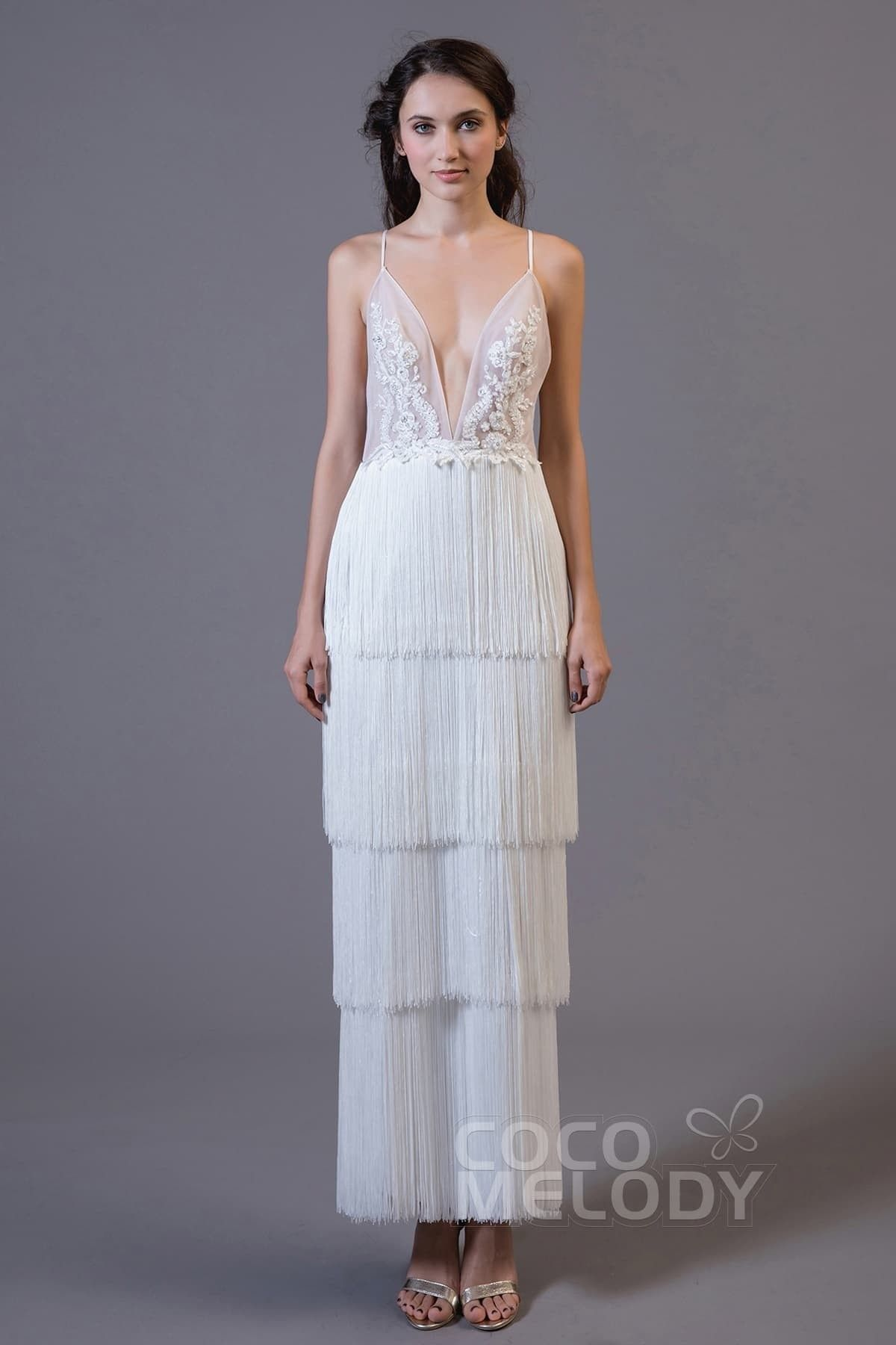 3b15e0a25d80 Impressive Sheath-Column V-Neck Natural Ankle Length Tulle and Elastic Silk  like Satin Sleeveless Zipper Zipper Wedding Dress with Appliques and Tassel  ...
