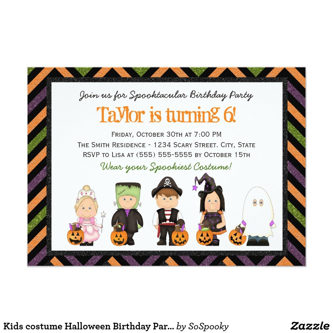 Kids costume Halloween Birthday Party Invitation. Personalize ...