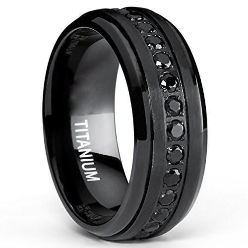 403a053ceb119 CERTIFIED 8mm Stealth Black Titanium Wedding Band Ring with Black ...