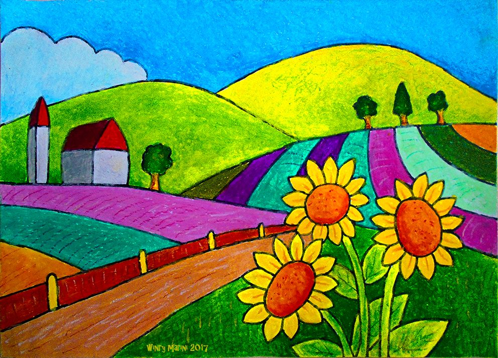 How To Color A Country Landscape With Oil Pastel For Kids Mewarani
