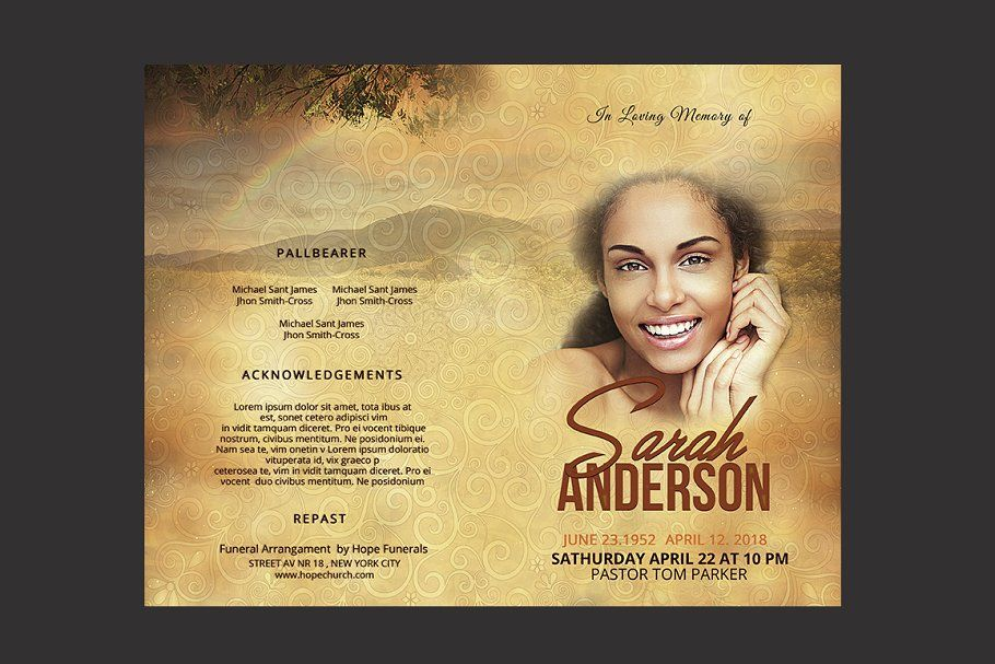 Ad funeral program template by ionescu_stefania on