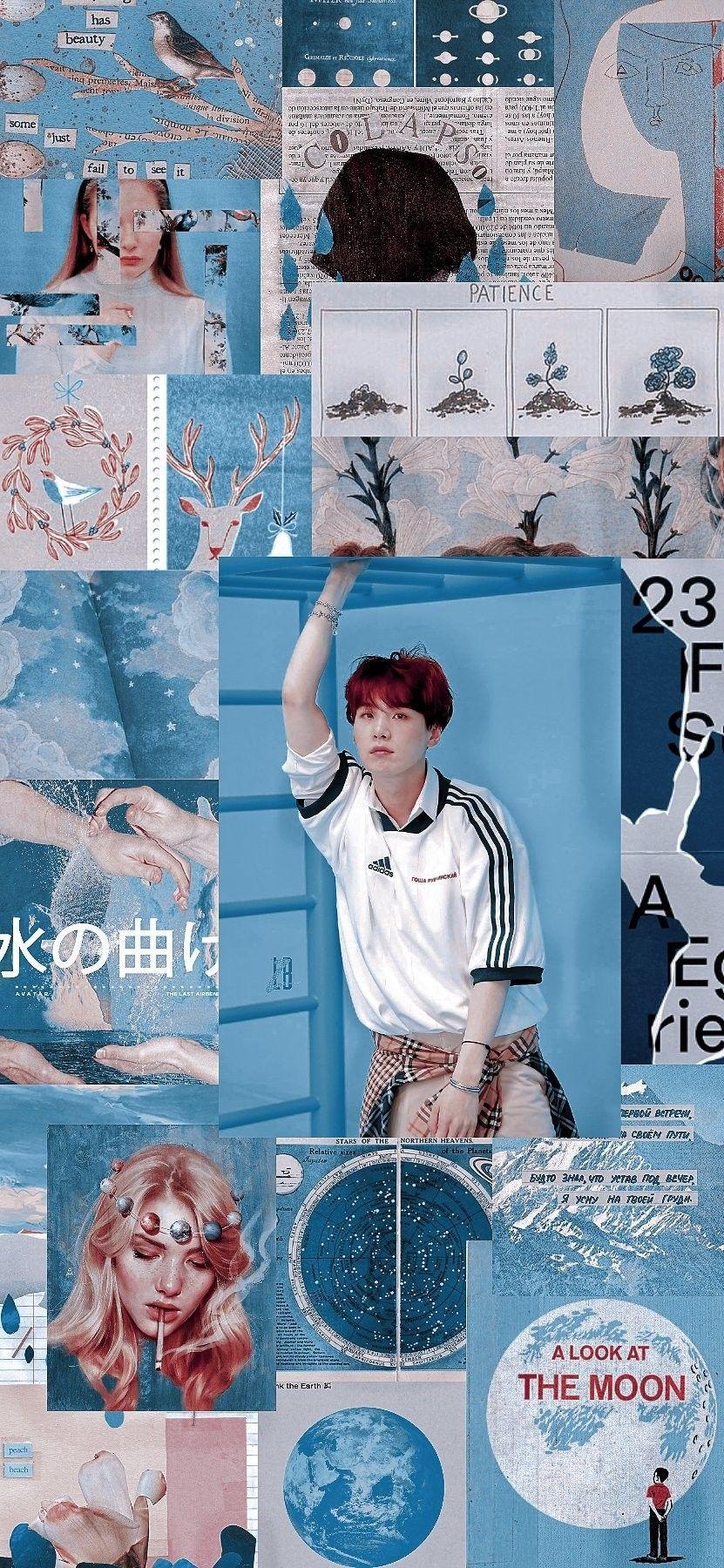 Bts Wallpaper Suga Lockscreen Background Blue Bts Suga Yoongi Bts Wallpaper Suga Lockscreen Backgroun Bts Wallpaper Baby Blue Aesthetic Blue Aesthetic