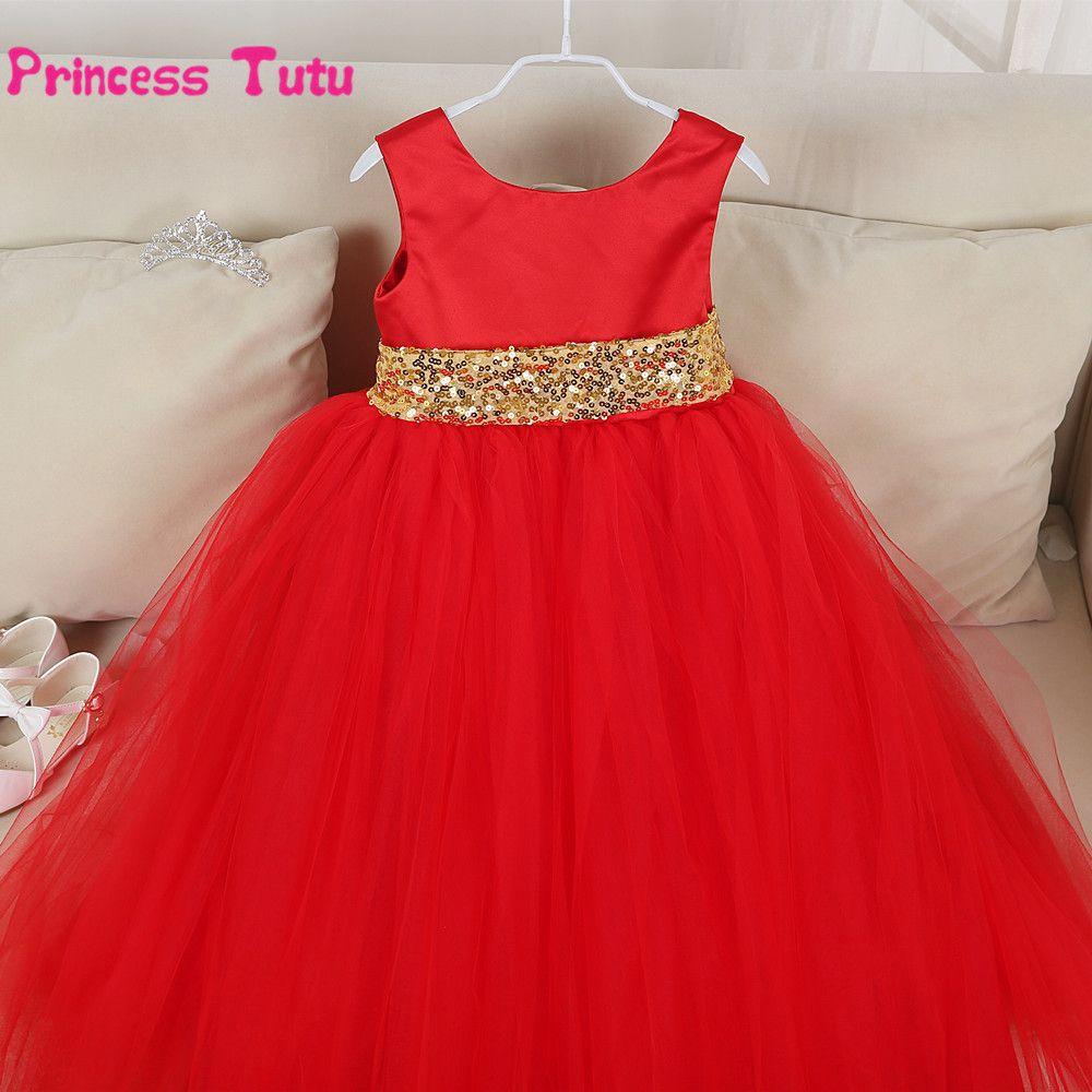 Click to buy ucuc redpinkblackblue girl formal dress wedding flower