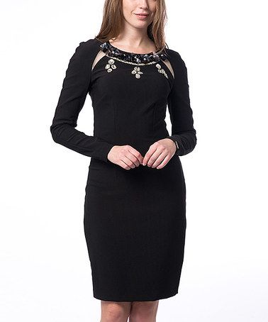 Black Embellished Cutout Dress #zulily #zulilyfinds