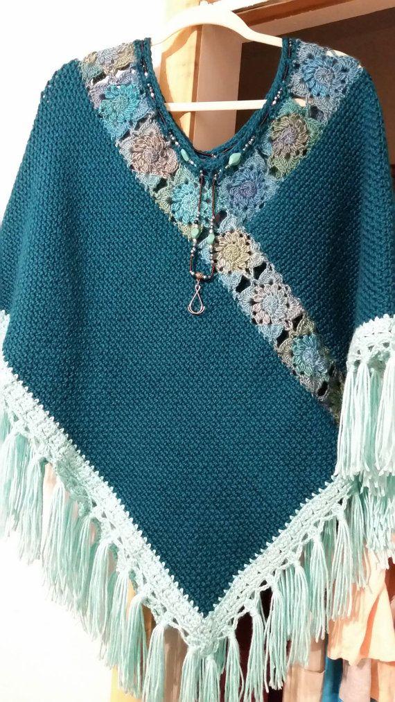 Crochet Pagoda Poncho | Colores verde azulado, Luces verdes y Verde ...