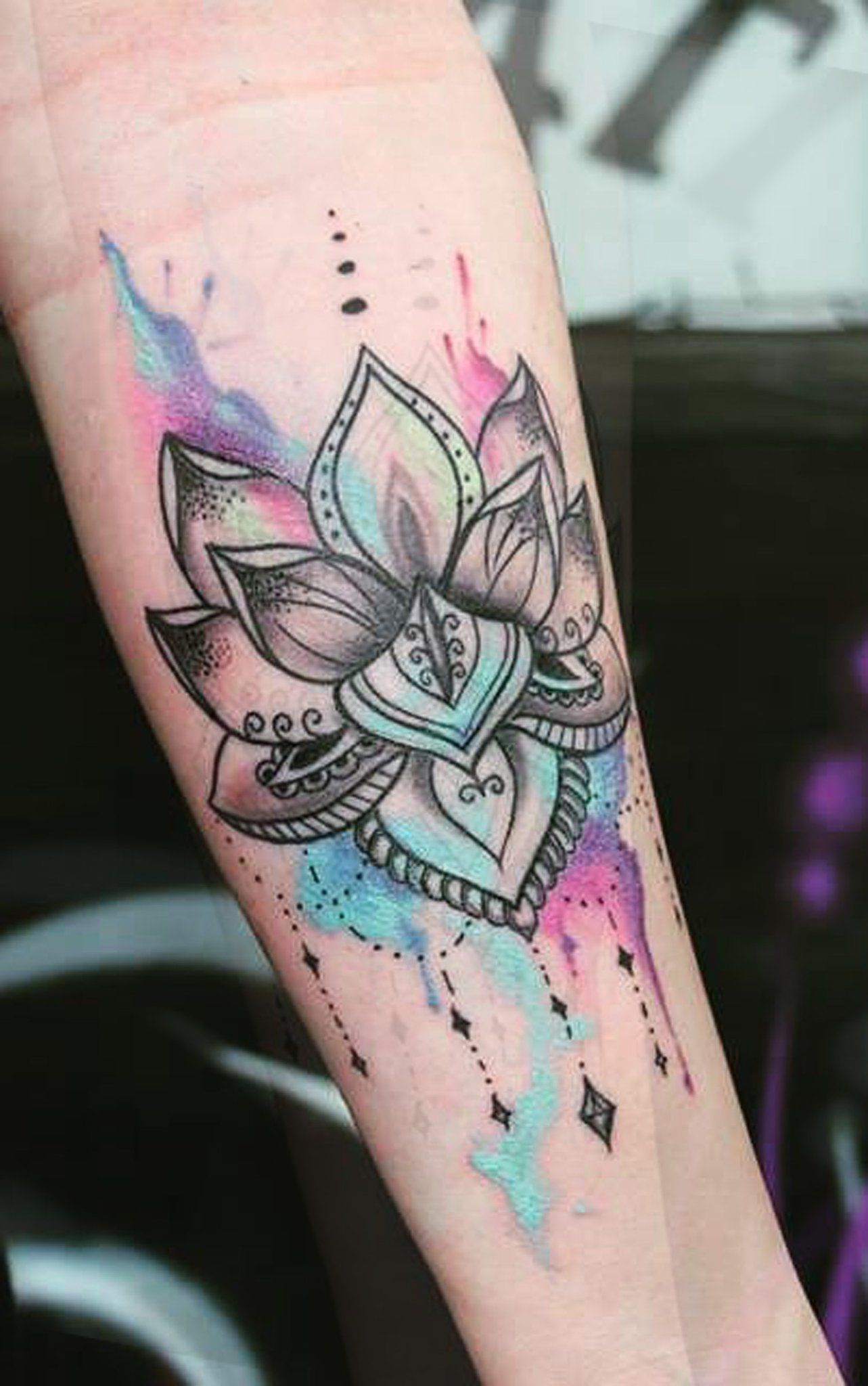 Watercolor Rainbow Colorful Lotus Mandala Chandelier Forearm