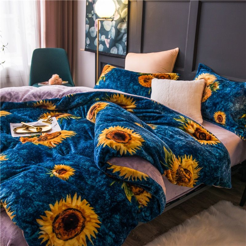 Sunflower Fleece Warm Twin Full Queen King Size Bedding Set Bed