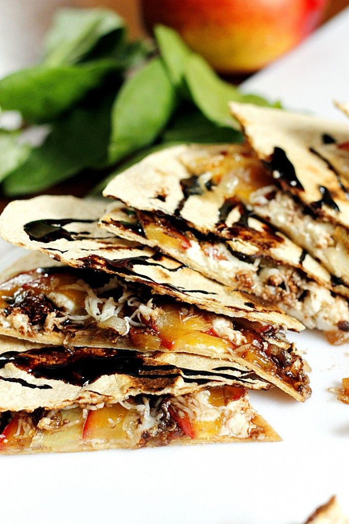 Caramelized Nectarine and Feta Quesadilla with a Balsamic Glaze by Fabtastic Eats