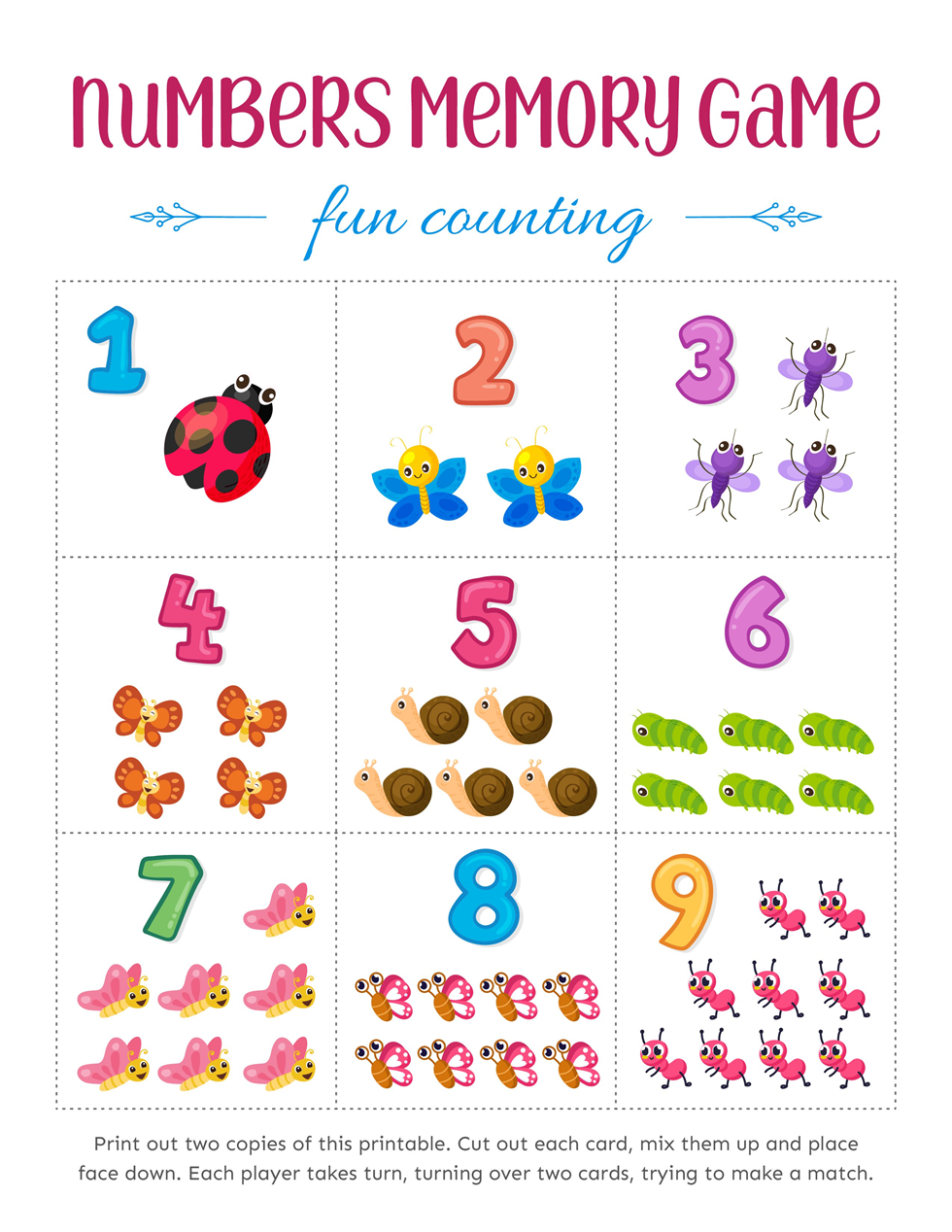 Match the Numbers Memory Games for Kids Download Free