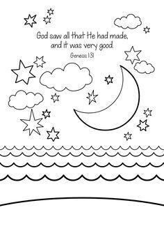 Creation Free Bible Coloring Page 1 Genesis Memory Verse