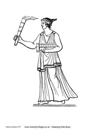 Antiguo griegos Antorcha Coloración Página | Antigua Grecia ...