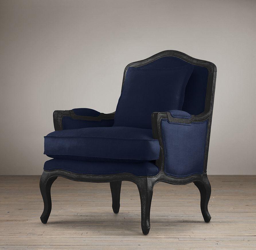 Restoration Hardware Marseilles Chair, Indigo Army Duck With Black Oak  Drifted