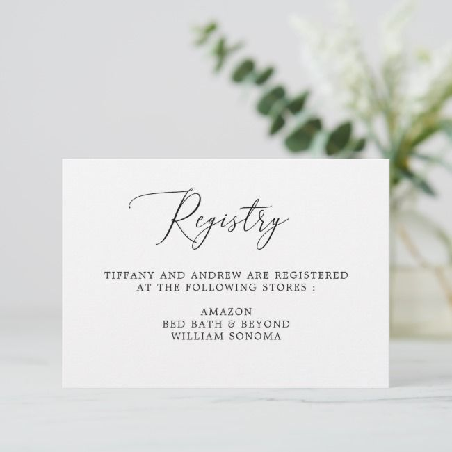 Simple Calligraphy Wedding Gift Registry Cards