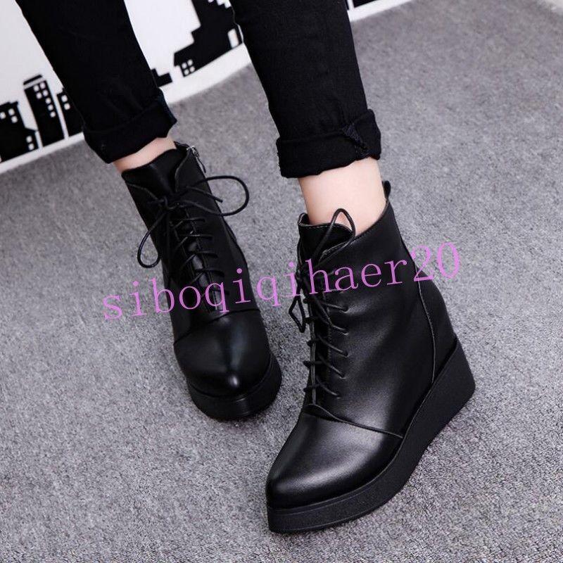 New Women Ladies Hidden Wedge Heel Shoes Lace Up Trainers Zip Combat Ankle Boots
