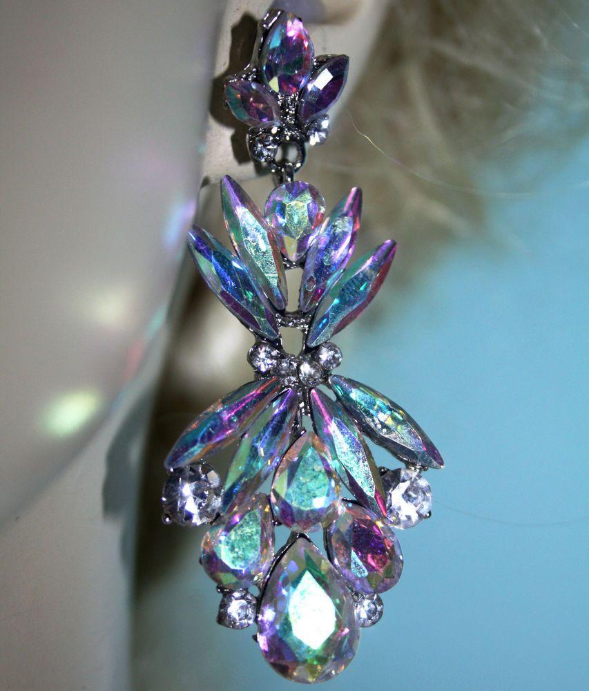 Austrian Crystal Chandelier Earrings Rhinestone Bridal Prom Pageant 29  Inch Ab #unbranded #chandelier