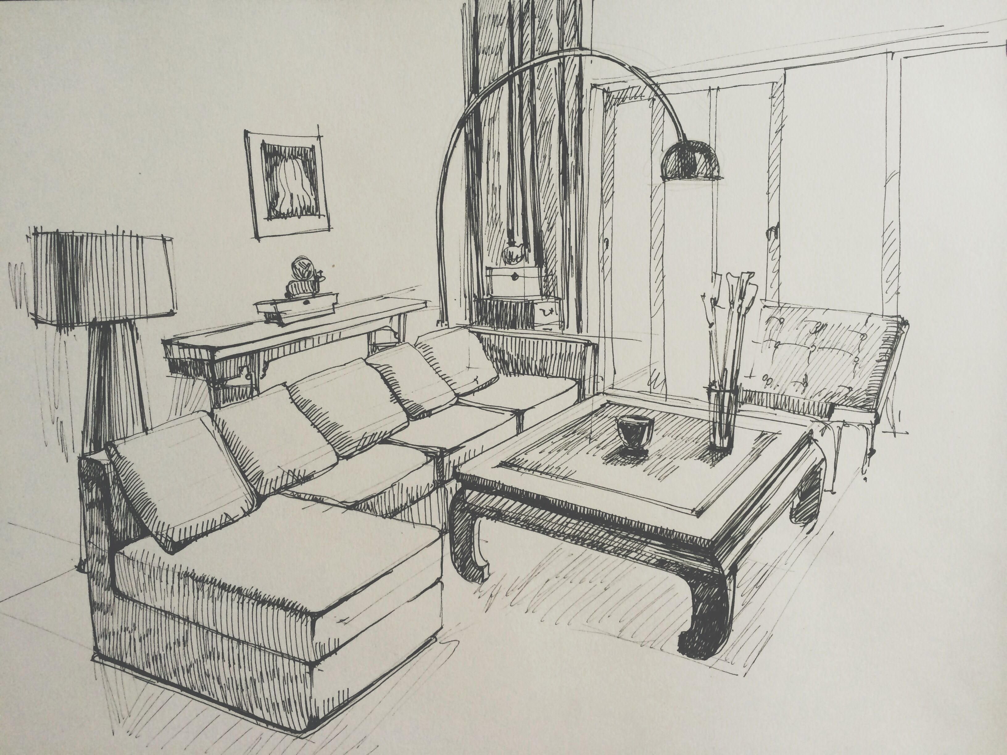 Living room sketch  Interior design sketches, Interior design
