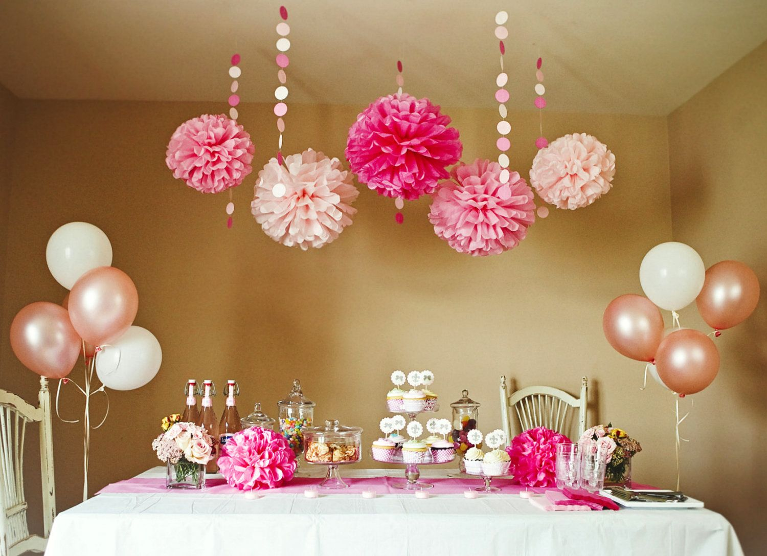Pink Party Shower DIY Decoration Package Kit PomPoms Garlands