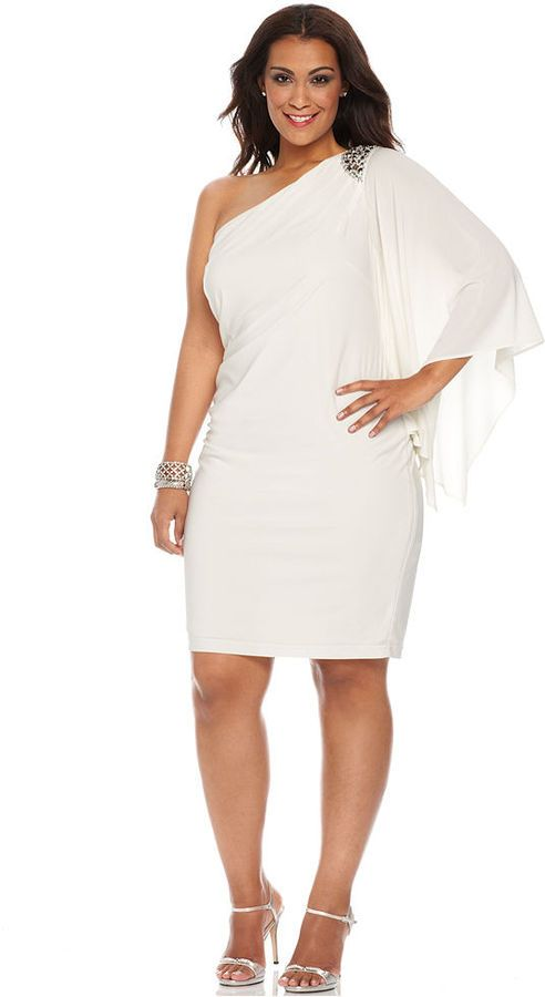 R & M Richards R&M Richards Plus Size One-Shoulder Beaded Dress on ...