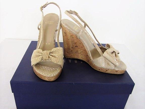 094341e9fb8 Stuart+Weitzman+Beige+Serpent+Sandals+NIB+6.5M+Wedge+Cork+Heel+