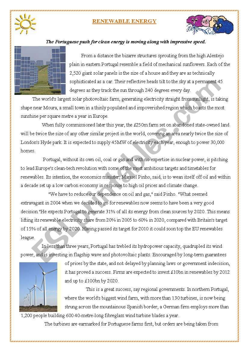 text about renewable energy in Portugal and some comprehension ...