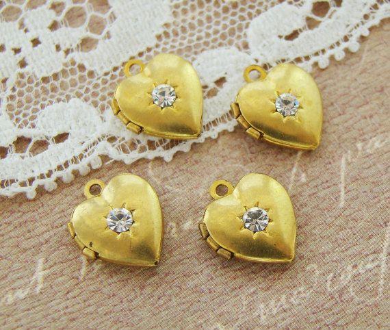 Vintage Brass Heart Lockets with Clear by alyssabethsvintage