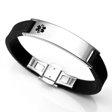 Black Rubber Stainless Steel Medical Id Bracelet Alert Symbol