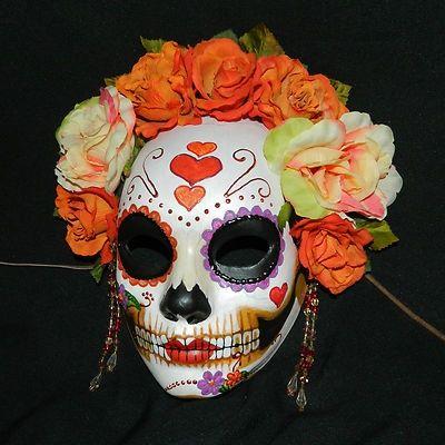 Day of the Dead Skull Mask Flowers Halloween Dia de los Muertos Skeleton Mask
