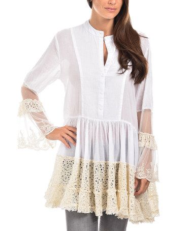 fdfada28640 This White   Beige Lace-Accent Ruffle-Hem Button-Front Tunic is perfect!   zulilyfinds