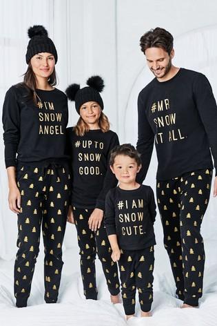 Black/Gold Kids Matching Family Slogan Pyjamas (316yrs