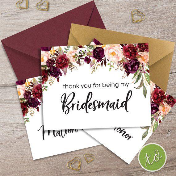 Bridesmaid Card Thank You For Being My Bridesmaid Wedding