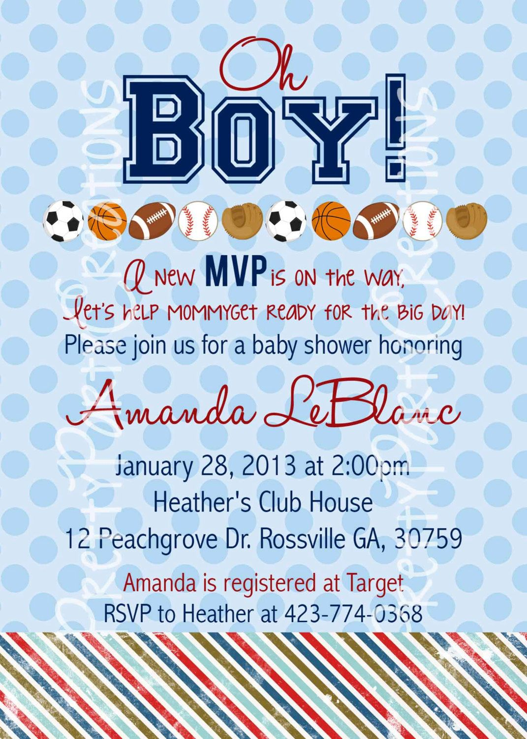 SPORTS BABY SHOWER or birthday invitation by PrettyPartyCreations ...
