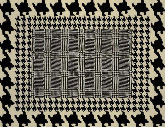 Tapis contemporain motifs en laine pied de poule by for Tapis de cuisine motif poule