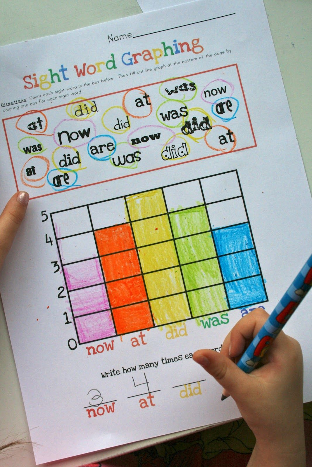 Graphing Sight Words With Different Fonts So They Can